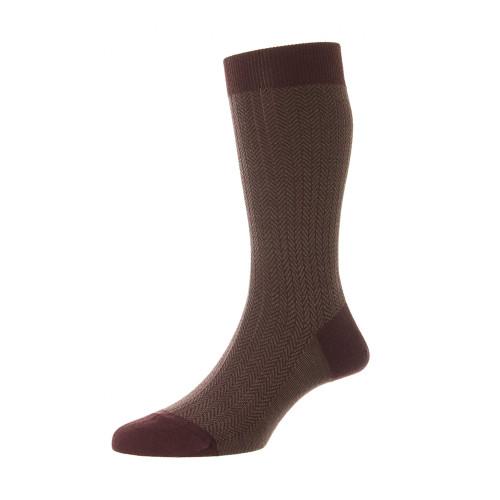 Mens Pantherella Finsbury Herringbone Wool Socks - Made in the UK