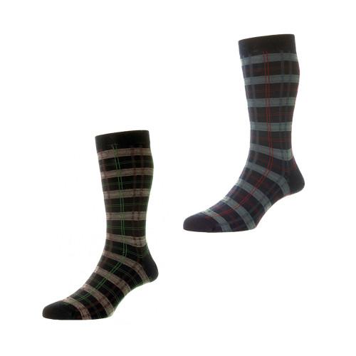 Mens Pantherella Topham Tartan Wool Socks - Made in the UK