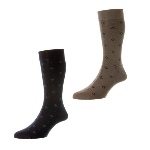 Mens Pantherella Dyott Diamond Wool Socks - Made in the UK