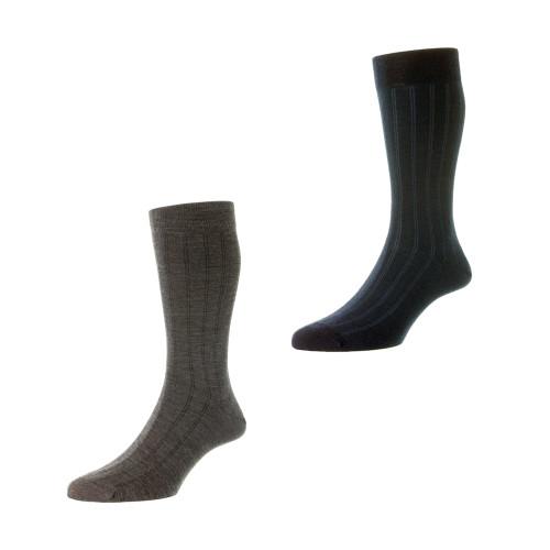 Mens Pantherella Parfett Stripe Wool Socks - Made in the UK