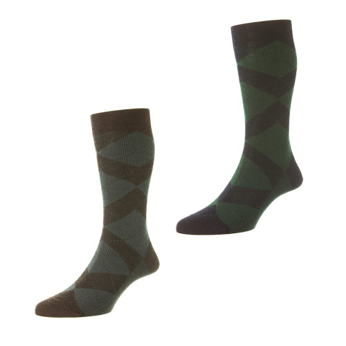Mens Pantherella Abdale Argyle Wool Socks - Made in the UK