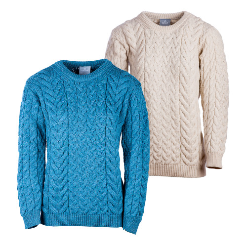 Aran Woollen Mills Mens Supersoft Merino Cable and Weave Aran Sweater