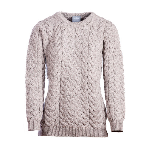 Aran Woollen Mills Supersoft Merino Cable and Weave Aran Sweater