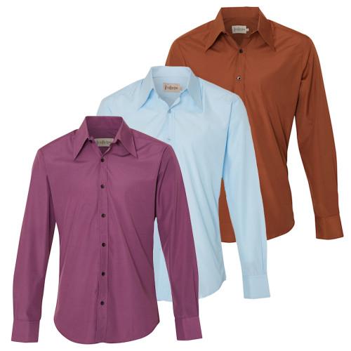 Mens Zen Retro Retro Large Collar 70s 60's Shirt Purple, Orange, Brown, Pink
