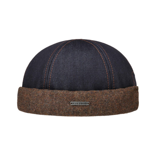 Stetson Retro 6-Panel Denim Docker Skull Cap