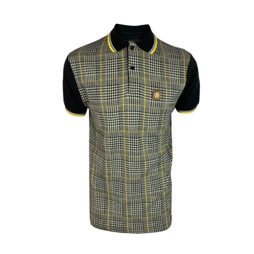 Mens Trojan Records Retro Knitted Prince of Wales Polo Shirt