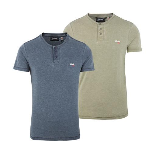 Mens Schott NYC STRIKER2 Distressed Henley T-Shirt