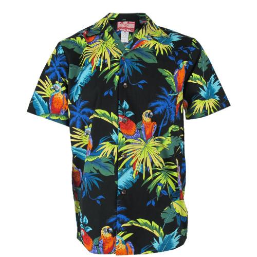 Robert J. Clancey Black Parrot Rockabilly Authentic Hawaiian Shirt