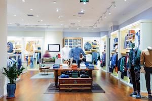 Interior of nondescript clothing store