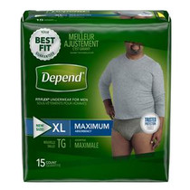 Depend FIT-FLEX Incontinence Underwear for Men, Maximum Absorbency, XL, Gray REPLACES 6943587