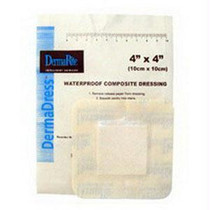 """Derma-Rite DermaDress® Waterproof Composite Wound Dressing, Non Woven, Low Adherent, Sterile 4"""" x 4"""""""