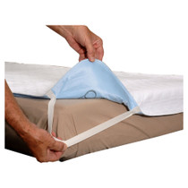 """Essential Medical Quik Sorb™ Quilted Birdseye Cotton Reusable Incontinence Underpad, with Straps, for 36"""" x 80"""" Hospital Bed"""