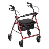 """Drive Medical Aluminum Rollator with Fold Up and Removable Back Support, 28"""" L x 24"""" W x 37"""" H, Padded Seat, Red"""