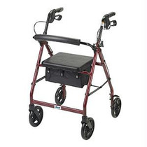 """Drive Medical Aluminum Rollator 28"""" L x 24"""" W, 7-1/2"""" Casters, With Fold-up and Removable Back Support, Red"""