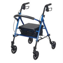 """Drive Medical Universal Seat Height Adjustment Rollator 21"""" W Overall, Blue, 18"""" to 22"""" H x 13"""" W x 12 ft. D Seat, With Fold-up and Removable Back Support, 300 lb Weight     Removable, hinged padded backrest can be folded up or down. Easy to use deluxe loop locks. Ergonomic handles are easy to grip and are adjustable in height. Serrated brakes. Limited lifetime warranty."""