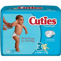 Cuties® Baby Diaper Size 3, 16 to 28 lb