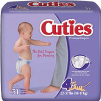 Cuties® Baby Diapers, Size 4 (22 - 37 lbs)