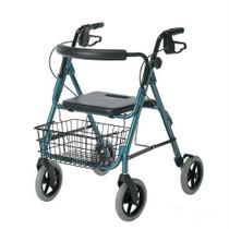 "Medline Industries Guardian® Envoy™ 480 Deluxe Rolling Walker 30-1/2"" L x 24-1/2"" W, Blue, 30-3/4"" to 36"" H Handle, 13-1/2"" W x 20"" H x 13-1/2"" D Seat Size, 5ft 1"" to 5ft 10"" Approximate User Height, 21"" W Between Rear Wheels, 18"" W Between Hand"