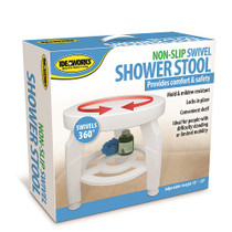 """Swivel Shower Stool, 16-1/2"""" Dia. Seat, Height Adjustable From 17"""" - 19"""""""