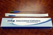 "MTG Intermittent Catheter, Straight Tip, Male, Vinyl, with Handling Sleeve, 14Fr OD, 16"""