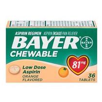 Bayer Chewable Aspirin 81 Mg Orange, 36 Ct