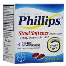 Bayer Phillips's® Stool Softener Liquid Gel Laxative Drug, 30 Count