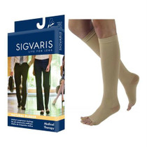 Natural Rubber Calf, 40-50mmhg, Small, Average, Short, Open Toe, Beige