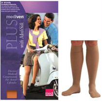 Mediven Plus Calf With Silicone Top Band, 30-40, Petite, Closed Toe, Beige, Size 3