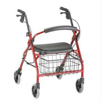 4-wheel Walker With Seat, Red, Up To 400 Lbs.