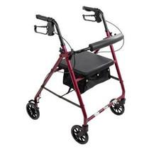 "PMI ProBasics™ Aluminum Patient Rollator, Standard, 6"" Wheels, 300 lb Capacity, 13.75"" Seat, Seat Depth 11.5"" 22.75"" Burgundy"