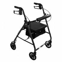 "PMI ProBasics™ Aluminum Patient Rollator, Standard, 6"" Wheels, 300 lb Capacity, 13.75"" Seat, Seat Depth 11.5"" 22.75"" Black"