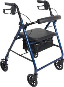 "PMI ProBasics™ Aluminum Patient Rollator, Standard, 6"" Wheels, 300 lb Capacity, 13.75"" Seat, Seat Depth 11.5"" 22.75"" Blue"