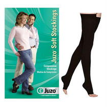 Juzo Soft Thigh-high With Silicone Border, 20-30, Open, Black, Size 5