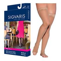 783n Style Sheer Thigh, 30-40mmhg, Open Toe, Large, Long, Suntan