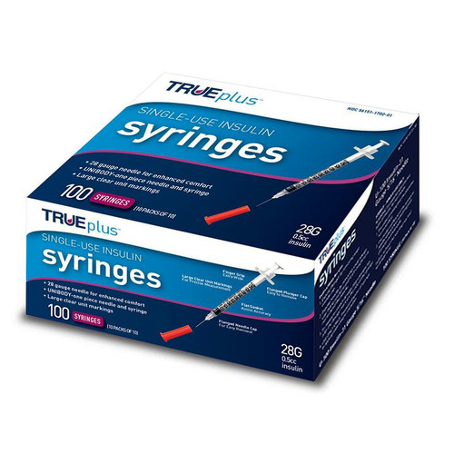 "Trueplus Single-use Insulin Syringe, 28g X 1/2"", .5 Ml (100 Count)"