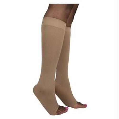 842c Style Soft Opaque Calf, 20-30mmhg, Open Toe, Medium, Long, Nude