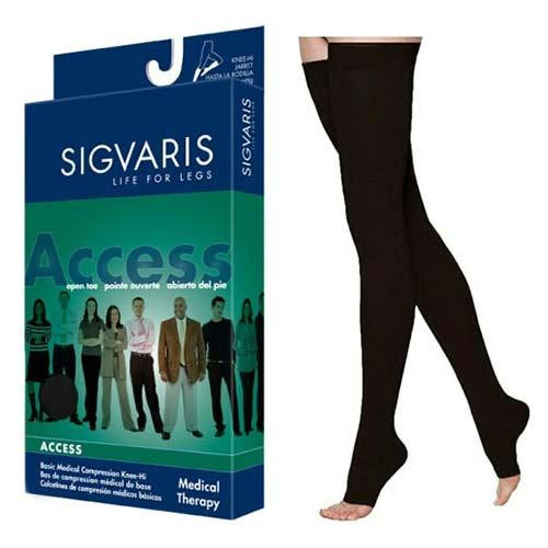 972n Dynaven Thigh, 20-30mmhg, Open Toe, Large, Long, Black
