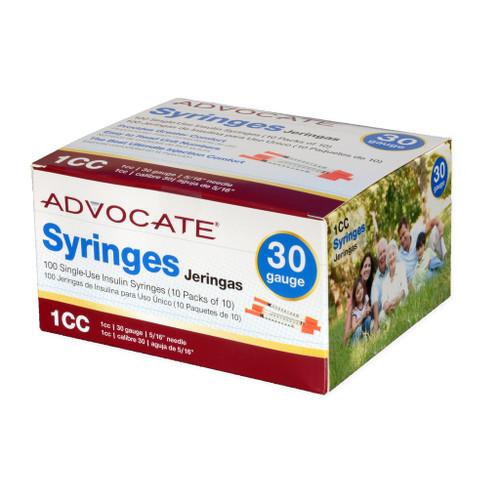 "ADVOCATE INSULIN SYRINGES 30G 1CC 5/16"" 100/BOX"