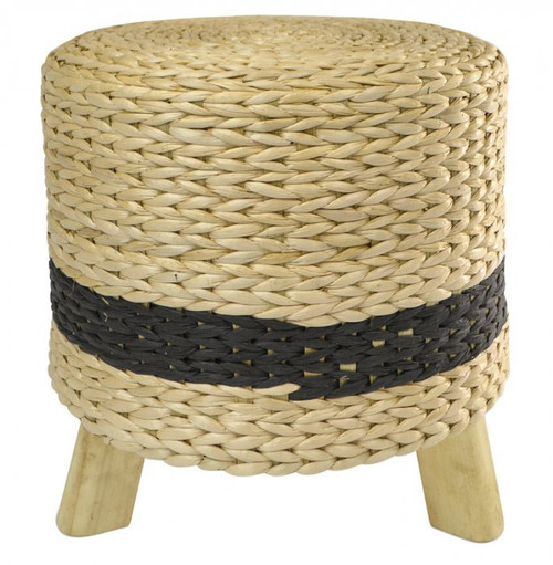 Nat/Black Seagrass Footstool