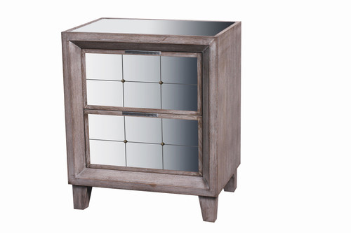 2 Drawer Mirrored Bedside