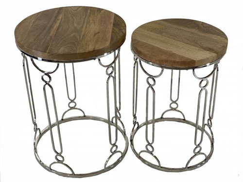 Wood and Metal Side Tables