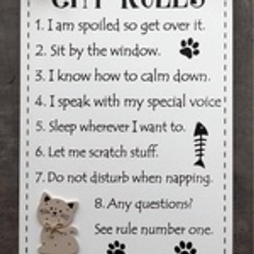 Cat Rules Plaque