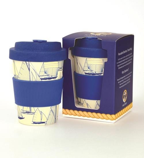 Bamboo Travel Mug - 300ml - NautiGo 'Sail Away'