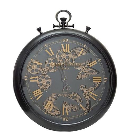 Chronograph Moving Gears Wall Clock (Black)