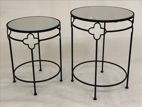 Round Black Mirrored Sidetable
