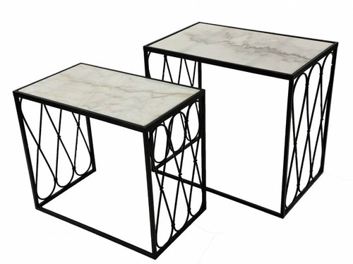 Rectangle Marble Top Side Table