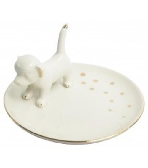 Dog Trinket Dish Round (White)