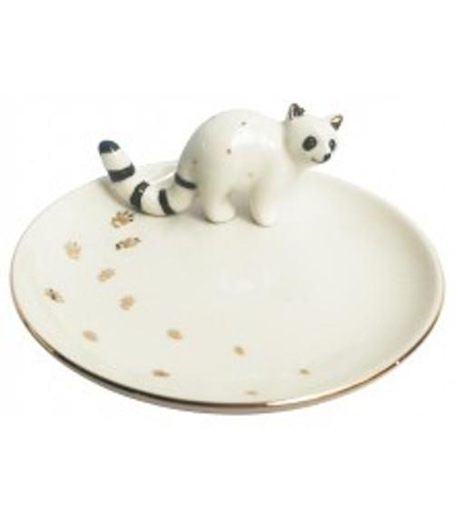 Raccoon Trinket Dish Round (White)