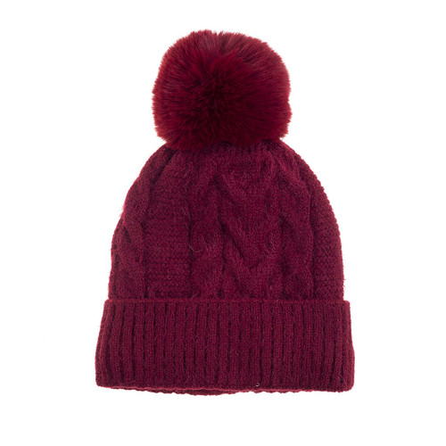 Braid Knit Beanie With PomPom