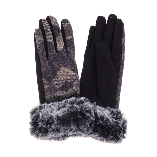 Argyle Gloves With Fur Cuff Grey